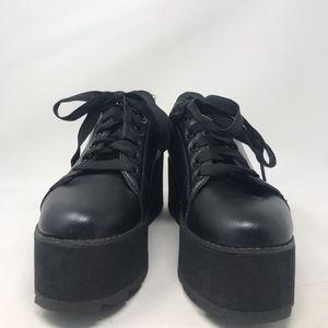 YRU Black Platform Shoes LA LA